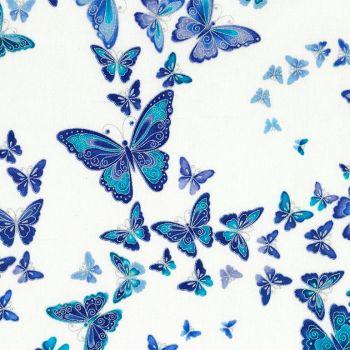 Timeless Treasures Fabric - Dutchess - Butterflies - Metallic Snow - 100% Cotton