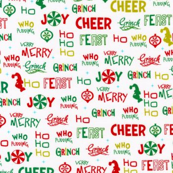 Dr Seuss Fabric - How The Grinch Stole Christmas - Allover Words - White - 100% Cotton