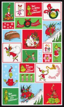 Dr Seuss Fabric - How The Grinch Stole Christmas - Character Panel - 100% Cotton