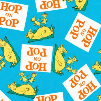 Dr Seuss Fabric - Hop on Pop - Title Squares - Blue - 100% Cotton