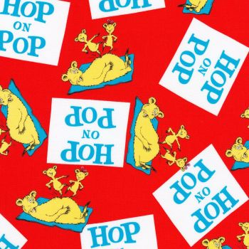 Dr Seuss Fabric - Hop on Pop - Title Squares - Red - 100% Cotton