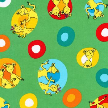 Dr Seuss Fabric - Hop on Pop - Colourful Eggs - Green - 100% Cotton