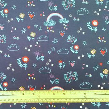 Stretch Jersey Knit Fabric - Outlines Rainbows - Navy - 95% Cotton 5% Elastane - Half Metre