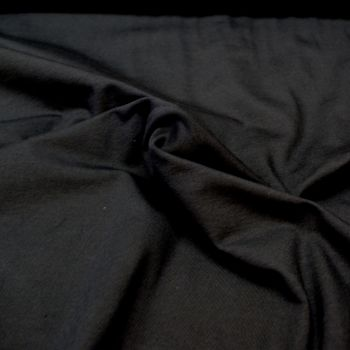 Stretch Jersey Knit Fabric - Plain Black - 95% Cotton 5% Lycra Half Metre