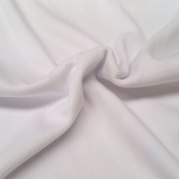 Stretch Ribbing/Collar/Cuff Fabric - Plain White HW - 97% Cotton 3% Lycra Half Metre