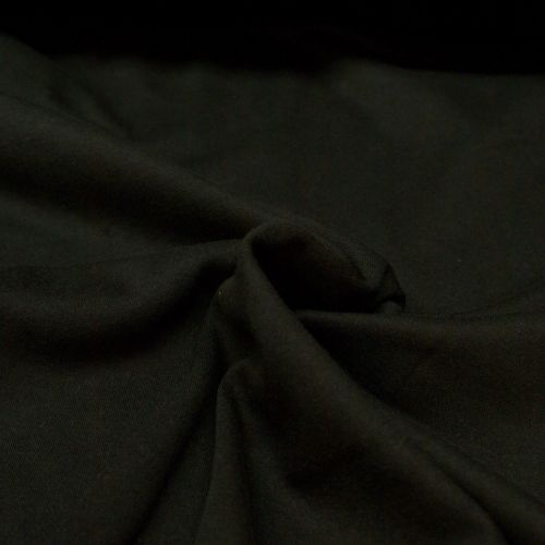 Jersey Knit T-Shirt Fabric - Plain Black - 100% Cotton - Half Metre