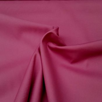 Stretch Cotton Sateen Fabric - Plain Cerise - 97% Cotton, 3% Elastane - Half Metre