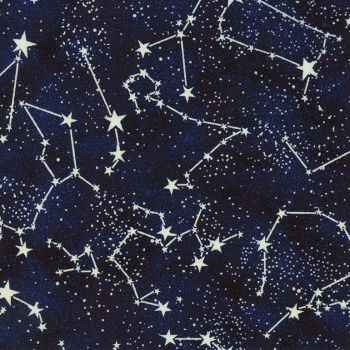 Timeless Treasures Fabric - Glow in the Dark Constellations - 100% Cotton