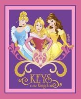 Disney Fabric - Princess Keys to the Kingdom Panel - 100% Cotton