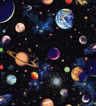 Nutex Fabric - Solar System - Planets Panel - 100% Cotton