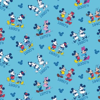 Disney Fabric  - Mickey & Minnie Mouse Dates Toss - Blue - 100% Cotton