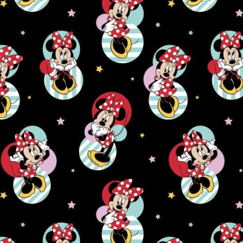 Disney Fabric  - Minnie Mouse Badges - Black - 100% Cotton