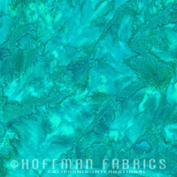 Hoffman Batik Fabric - Watercolour 1895 - Betta Fish Green - 100% Cotton