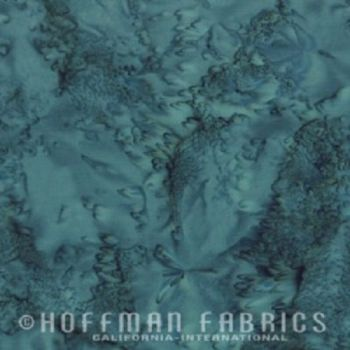 Hoffman Batik Fabric - Watercolour 1895 - Teal Blue - 100% Cotton