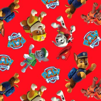 Paw Patrol Fabric - Character Toss - Red - 100% Cotton