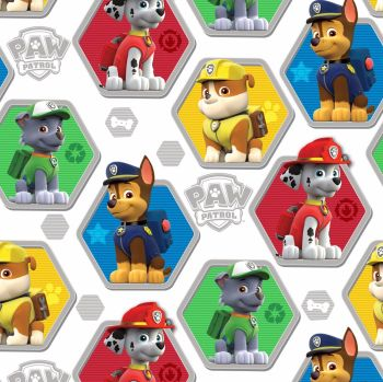 Paw Patrol Fabric - Rescue - White - 100% Cotton
