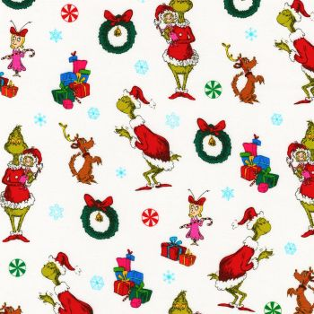 Dr Seuss Fabric - How The Grinch Stole Christmas - Allover Characters - White - 100% Cotton