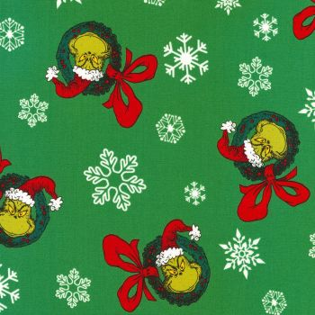 Dr Seuss Fabric - How The Grinch Stole Christmas - Allover Wreaths - Green - 100% Cotton