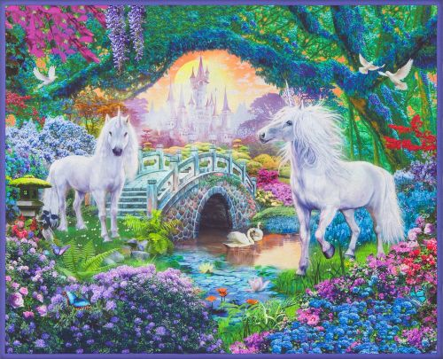 Robert Kaufman Fabric - Sweet Unicorn Digital Panel - 100% Cotton