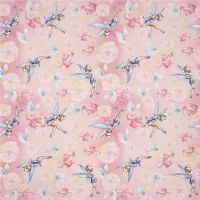 Disney Fabric - Tinkerbell Tink Roses - Pink - 100% Cotton