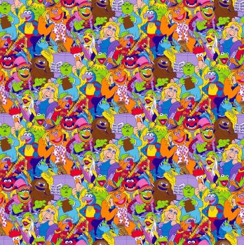 Disney Fabric - The Muppets - Packed Characters - 100% Cotton