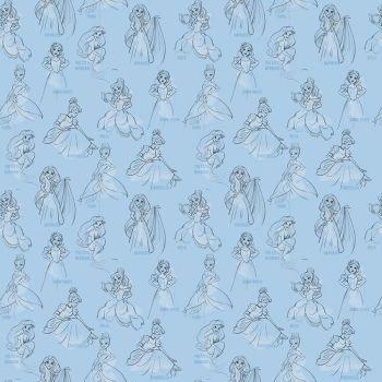 Disney Fabric - Princess Allover - Blue - 100% Cotton