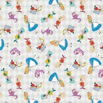 Disney Fabric - Alice in Wonderland - Friends Allover - 100% Cotton