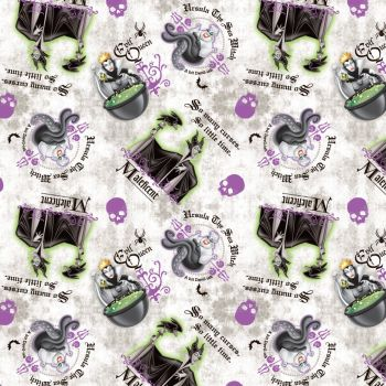 Disney Fabric - Villains Patch - Allover - 100% Cotton