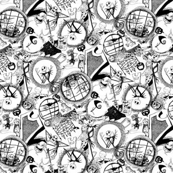 Disney Fabric - Nightmare Before Christmas - Tossed World - White - 100% Cotton