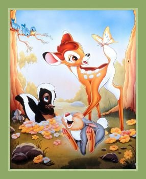 Disney Fabric - Bambi and Friends Panel - 100% Cotton