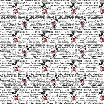 Disney Fabric - Mickey and Minnie Mouse with Words - White - 100% Cotton