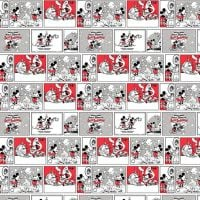 Disney Fabric - Mickey and Minnie Mouse Love Affair - White - 100% Cotton