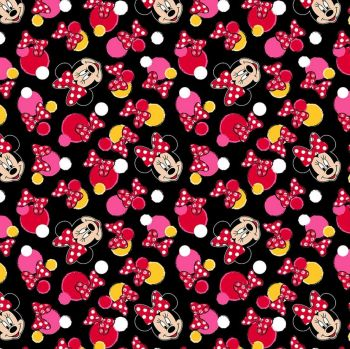 Disney Fabric  - Minnie Mouse Dots - Black - 100% Cotton