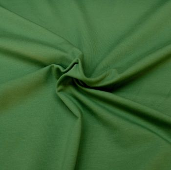 Stretch Jersey Knit Fabric - Plain Green - 95% Organic Cotton 5% Elastane - Half Metre