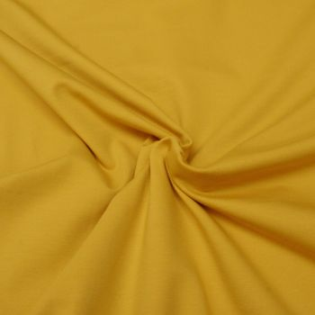 Stretch Jersey Knit Fabric - Plain Light Mustard - 95% Cotton 5% Lycra Half Metre