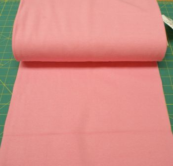 Stretch Ribbing/Collar/Cuff Fabric - Plain Pink LW - 95% Cotton 5% Lycra Half Metre