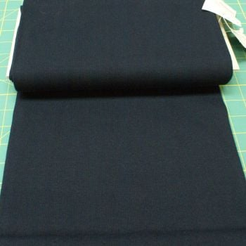 Stretch Ribbing/Collar/Cuff Fabric - Plain Navy HW - 95% Cotton 5% Lycra Half Metre