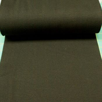 Stretch Ribbing/Collar/Cuff Fabric - Plain Black HW - 95% Cotton 5% Lycra Half Metre