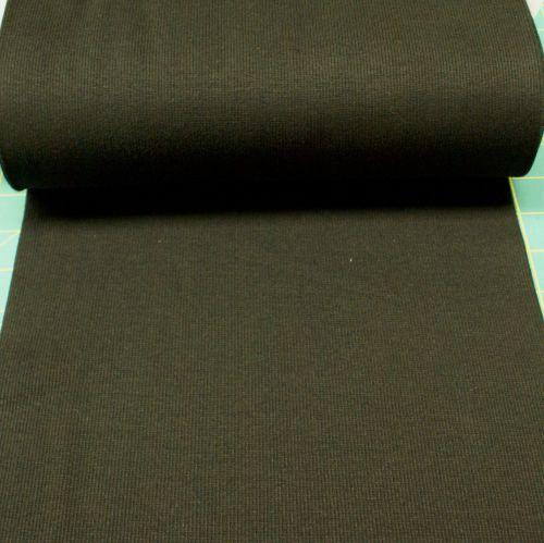 Stretch Ribbing/Collar/Cuff Fabric - Plain Black HW - 95% Cotton 5% Lycra H