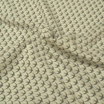 Viscose Fabric - Swallows - White - 100% Viscose - Half Metre