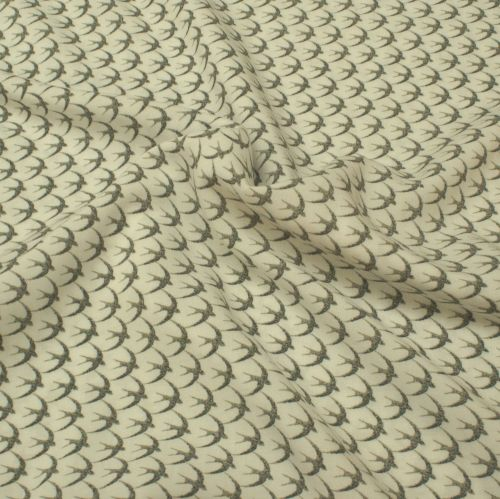 Viscose Fabric - Swallows - White - 100% Viscose - Half Metre