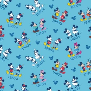 Disney Fabric  - Mickey and Minnie Mouse - Dates Toss - Blue - 100% Cotton