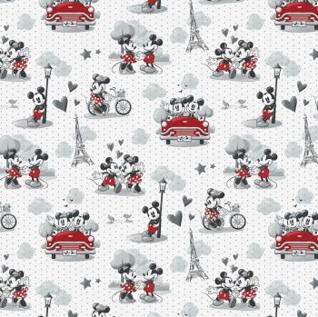Disney Fabric - Mickey and Minnie Mouse - Vintage Scenes of Romance - 100% Cotton