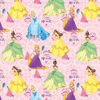 Disney Fabric - Listen to your Heart Princesses - Pink - 100% Cotton