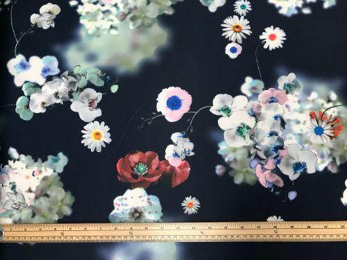 Scuba Fabric - Blue Floral - 95% Polyester, 5% Elastane - Half Metre