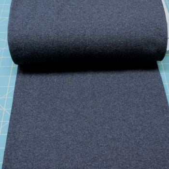 Stretch Ribbing/Collar/Cuff Fabric - Dark Blue Marle HW - 60% Cotton, 35% Polyester 5% Lycra Half Metre