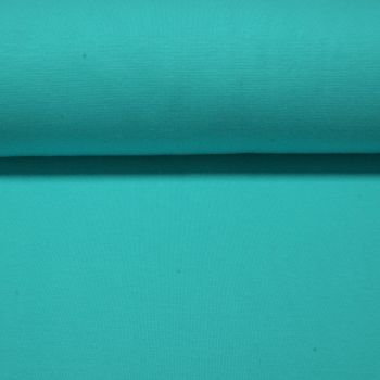 Stretch Ribbing/Collar/Cuff Fabric - Plain Turquoise LW - 96% Cotton 4% Lycra Half Metre