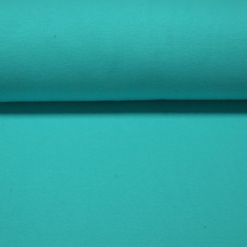 Stretch Ribbing/Collar/Cuff Fabric - Plain Turquoise LW - 96% Cotton 4% Lyc