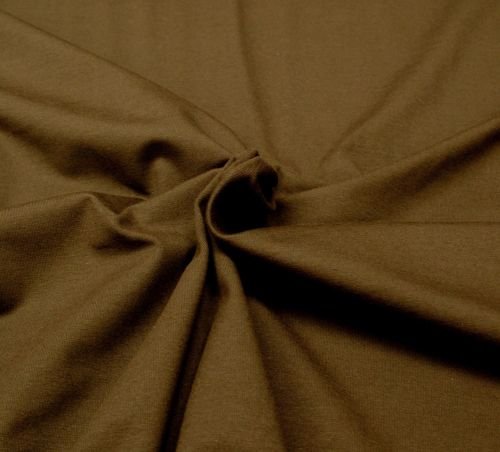Stretch Jersey Knit Fabric - Plain Chocolate Brown - 95% Cotton 5% Lycra Ha
