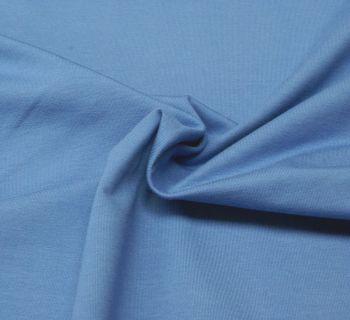 Stretch Jersey Knit Fabric - Plain Mid Blue - 95% Cotton 5% Lycra Half Metre